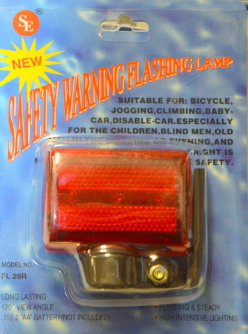 12 -Red Bike  Light 3 LED - Flashing and Steady, requires 2 AA Batteries. #FL28R