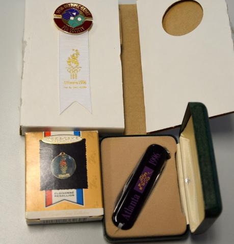 Atlanta 1996 Olympic Games: Swiss Army Knife, Keepsake Ornament, Olympic Pin