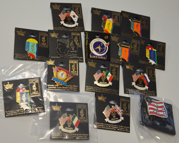 15 Atlanta Collectible Olympic Pins - Flags and Sport Types 763264806459