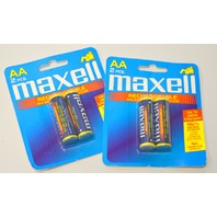 Maxell Rechargeable AA 2 pc Ni-Mh 1400 mAh - New old stock. 2 Packages. #HR06