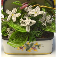 Ceramic Box Made in France for Bonwit Teller, flowers were added for decoration