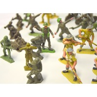 Vintage Assorted Green, Tan, Grey Plastic Army Men Figures - Over 25 pcs.