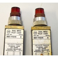 Allen Bradley 800T-PST16-B - Used - Push to test Pilot Light - 2 Red.
