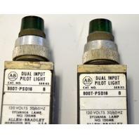 Allen Bradley 800T-PST16-B - Used - Push to test Pilot Light - 2 Green.