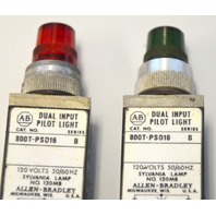 Allen Bradley 800T-PST16-B - Used - Push to test Pilot Light - 1 Green/ 1 Red.