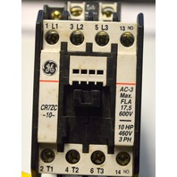 GE CR7ZC -10- 10HP, 460V, 3PH, AC-3Max FLA 17,5 600V.Magnetic Contactor