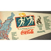 Atlanta 1966 Olympic Torch Relay with Map Pennant