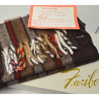 "The Glengary Plaid Scarf by Faribo 12"" x 60"" 100% Acrylic Brown/White/Red Plaid"