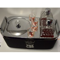 Vintage Music Box Traveling Bar - Ice Bucket, 2 bottles for liquids and 4 shot glasses.