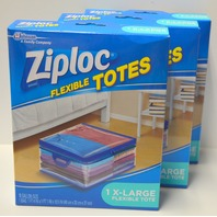 "Ziploc 10 Gallon Zipper Closer Totes 3 Boxes XL, Soft Side Storage, 1' 4""x10 1/2""x1'1"""
