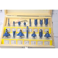 Hiltex 15 Pc. Tungsten Carbide Router Bits in presentation box. #10100