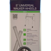 """Universal Walker Non-Swivel Wheels, 5"""", 1 pair,  with rear glides. #10109  New."""