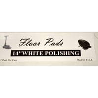 """14"""" White Spray Buffing/Cleaning Pads - 5 per case. #10516W. New Old Stock."""