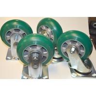 "Blickle 6"" Caster Set: 2 Swivel and 2 Rigid - ALSt Wheel Plate Ball Bearing"