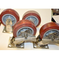 "Colson Stainless Steel Poly on Poly 6"" x 2"" Caster Set. 2 Rigid and 2 Swivel with Brake"