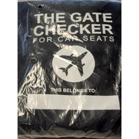 The Gate Checker for Car Seats Black with White lettering. 34 x 17 x17.
