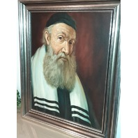 "Antique Large Signed Painting Jewish Rabbi, Judaica, Framed 28"" by 32"" W. Topman"