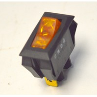 Defond 110VAC SPST, On/Off Illuminated Amber Appliance Rocker Switch.
