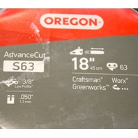 "Oregon S63 Advance Cut - 18"" Chainsaw Chain 3/8"" Low Profile."