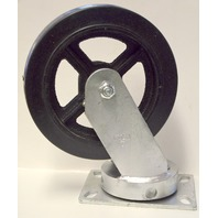 "8"" x 2"" Rubber on Cast, Kingpinless Swivel Plate Caster. #W9180-01-RCI"