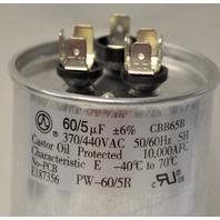 PW-60/5R Round Dual Capacitor 370/440VAC 50/60Hz