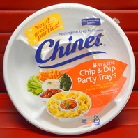 Chinet 8 Plastic Chip & Dip Party Trays - Microwavable Plastic- 5 compartments.