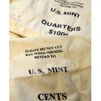 4 Canvas Money Bags: 1-U.S. Mint Cents, 1 U.S. Mint Quarters and 2 without names.