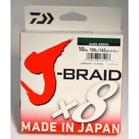 J-Braid x8 - 165 Yards, Dark Green, 10 lb. for casting. #10-150DG