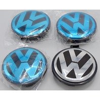VW Center Caps - black and silver - 4 pcs.