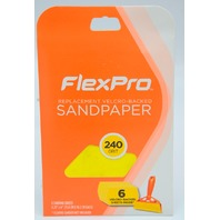 "8 - FlexPro - Hook n Loop Sandpaper 240 Grit, 6 packs.   6.23"" x 4"".  #400-06240"