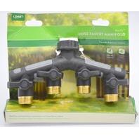 "Orbit ProFlo Hose Faucet Manifold, 3/4"" Male HD Metal 4 Outlet Hose Shutoff #58970"