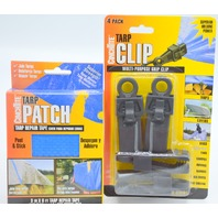 "Tarp Clips (pack of 4) and Peel and stick Tarp Patch 3""x 6' by CinchTite"