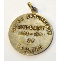 Our Lady of Lourdes-Vintage Charm 100th Anniversary 1858 - 1958, Sterling Silver.