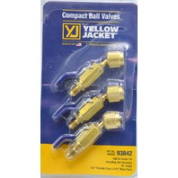 "Yellow Jacket #93842 Compact Ball Balve, 1/4"" Female Flare x 1/4"" Mail Flare set of 3"