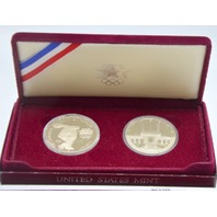 1983-1984 US Olympic Two Coin Proof Silver Dollars with box.