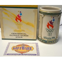 100 Years of Olympic Games -Centennial 1996 Stein w/Official Seal Busch Mug