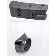 """Leitz Leica Motor Drive Winder R4 for SLR film camera + Leitz 2 1/4"""" Hood # 12509 R."""