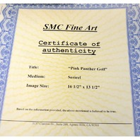 """""""Pink Panther Golfing""""  14.5"""" x 17.5"""" Certificate of Authenticity Sericel."""