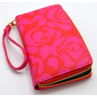 Betsey Johnson Women's Floral Wallet/Wristlet - Hot Pink/Red.