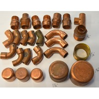 26 pcs of Basic Copper Fittings.  Many styles and sizes. New old stock.