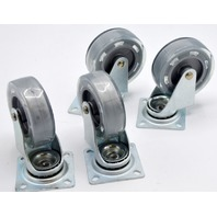 "4 Pc Set of 3"" x 1"" Double Race, Polyurethane on Poly Swivel Plate Mount Caster."