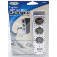 Custom Accessories #23600 12V Lighted Aluminum Triple Socket with USB.