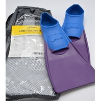 Long Floating Swim fins size xxxxs 6-8 Blue/Purple w/ mesh bag.