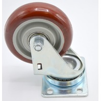 "4""x 1 1/4"" Plate Mnt Poly on Poly Swivel Caster, 400 lb capacity-Dual race bearings"