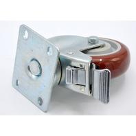 "1 - 4""x 1 1/4"" Plt Mnt Poly on Poly Swivel Caster, Dual race bearings, Total lock Brake"