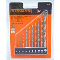 "Black and Decker General Purpose Drill Bit Set #15-110  1/16"" to 1/4""."