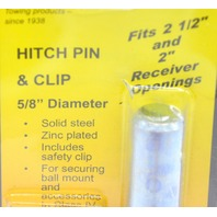 """Hitch Pin & Clip - 5/8"""" Diameter, Solid Steel,  Zink Plated Fits 2 1/2"""" and 2"""" Receiver"""