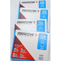 "4 - Pkg. Arrow Genuine T50 Staples 1/2"" T50, 1250 pcs ea package. #508"