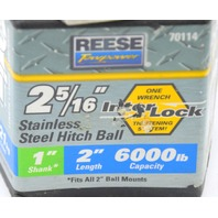 """Reese 2 5/16"""" Stainless Steel 1"""" Shank Hitch Ball 2"""" length, 6000lb capacity #70114"""