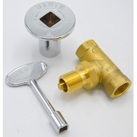 "Dante Combo Pack w/Straight Turn Ball Valve, 3"" Chrome Floor Plate and Key."